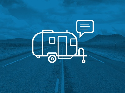 Airstream Icon line art vector monoline road trailer icon