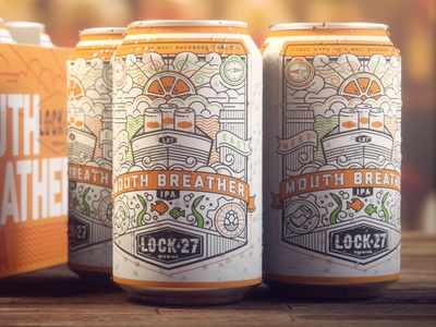 Mouth Breather Beer beer can wind citrus monoline label can beer