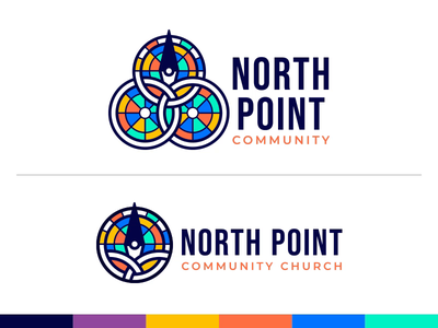 North Point Community circles stained glass compass church marketing church logo church