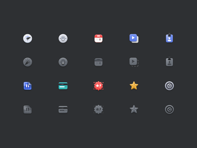 Podspace Admin [Icons] settings star ads card blueprint user calendar switch speed 24px icon