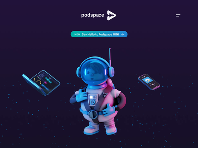 Podspace Hero [Animation] ecommerce astronaut space iphone macbook podcast web blender 3d illustration
