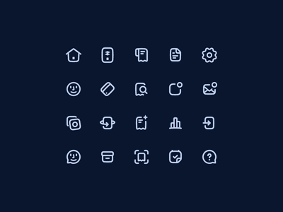 24 × 24 Icon set 💳 icons icon app web fintech home receipt document settings card user creditcard notification