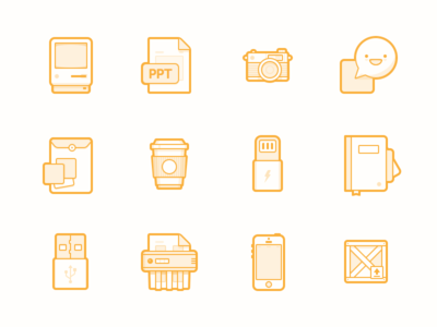 Various Icons macintosh camera chat share folder coffee lightning notebook usb shredder iphone crate