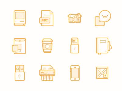 Various Icons macintosh camera chat share folder coffee lightning notebook usb shredder iphone crate