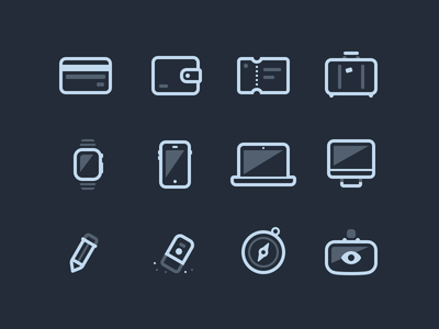 Icon Set Preview credit card wallet ticket luggage watch iphone macbook imac pen eraser compass oculus
