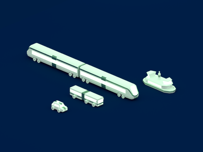 🚂💨 Transportation blender low poly 3d commute transport boat train bus taxt