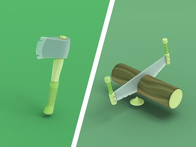Lumber Toys 🌲🤗 blender illustrations foresty cartoony 3d saw axe