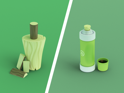 More Foresty Toys 🌲🤗 coffee firewood thermos logs 3d cartoony foresty illustrations blender