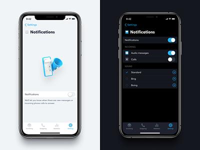 Notification Settings darkmode table view icons illustration iphone settings notifications ios