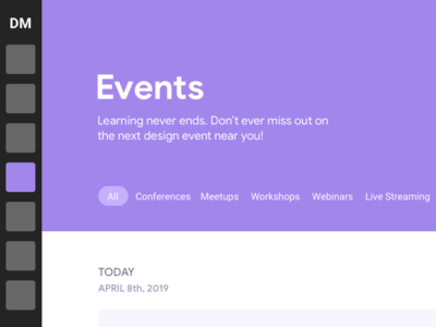 Rapid feedback for Events page research product design product user analysis user experience