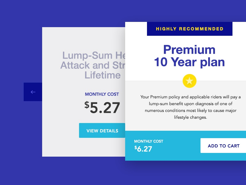 Life Insurance Packages design plans carousel pagination premium life insurance cover flow packages cards ui design