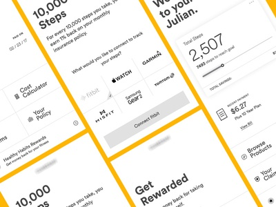 Wireframes for Insurance Mobile Design life insurance insurance product design rewards health fitness steps mobile design ui ux wireframes
