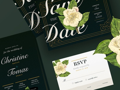 Save The Date type print gilded art refined classic emerald green botanicals florals typography graphic design card invitation design rsvp wedding suite wedding invitation wedding save the date