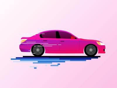 Barbie's sedan illustrator flat graphic pink car sedan infographic artwork vector art vector illustration design graphic design