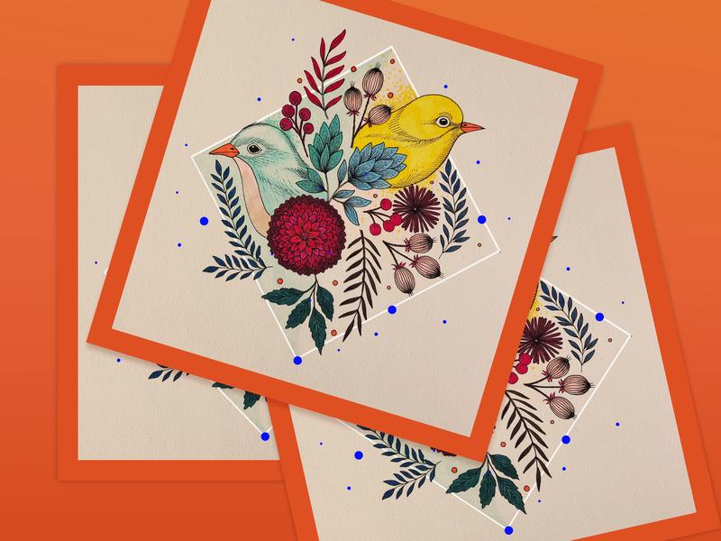Jill and Bill wall art vintage flowers botanicals ink drawing birds drawing line art line drawing illustation