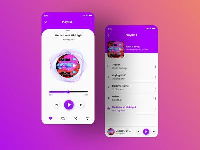 Music Player app music app music playlist musics player listening listening app ui ux design