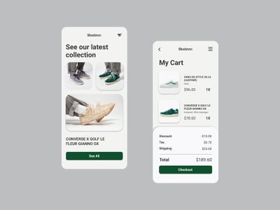Daily UI - Shopping cart shop ecommerce shop ecommerce design ecommerce shoes product ui  ux webdesign design dailyuichallenge dailyui uidesign ui uiux shopping app shopping cart shopping 058