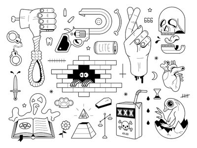 True Crime Flash Sheet stick and poke flash sheet black and white icon spooky true crime crime skull tattoo