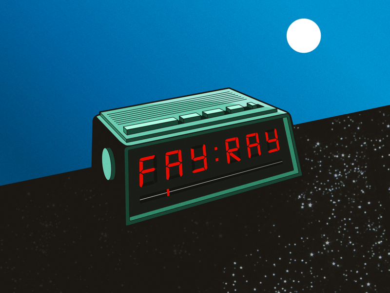 Fay Ray EP Artwork band day and night radio clock album artwork music fay ray