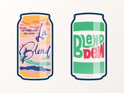 La Blend & Blend Dew francisco san fintech startup illustration blend can soda dew mountain croix la