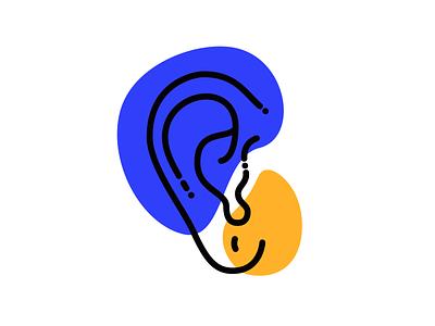 five senses - hearing hearing line colorblock ear icon illustration senses