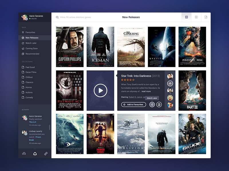Movie App Final movie app dashboard buttons ui listing catalog menu