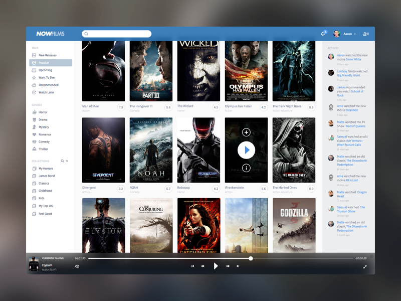 NowFlims - WIP dashboard movie application web video player controller activity