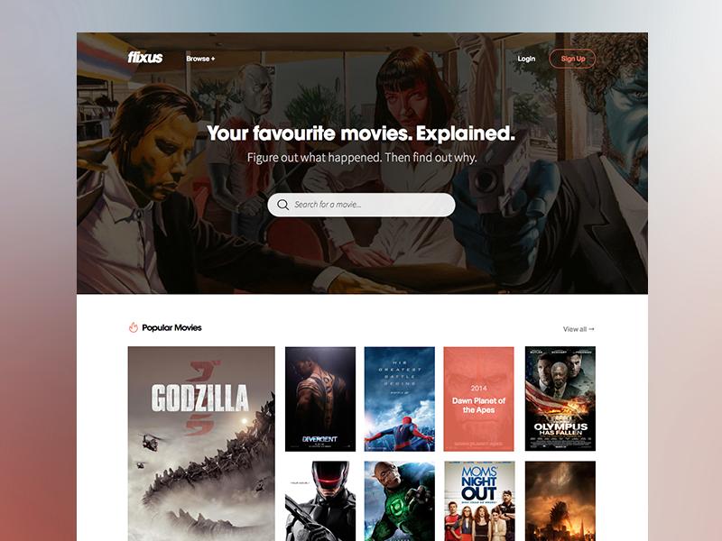 Flixus - Homepage (WIP) flixus homepage landing page search movies catalog