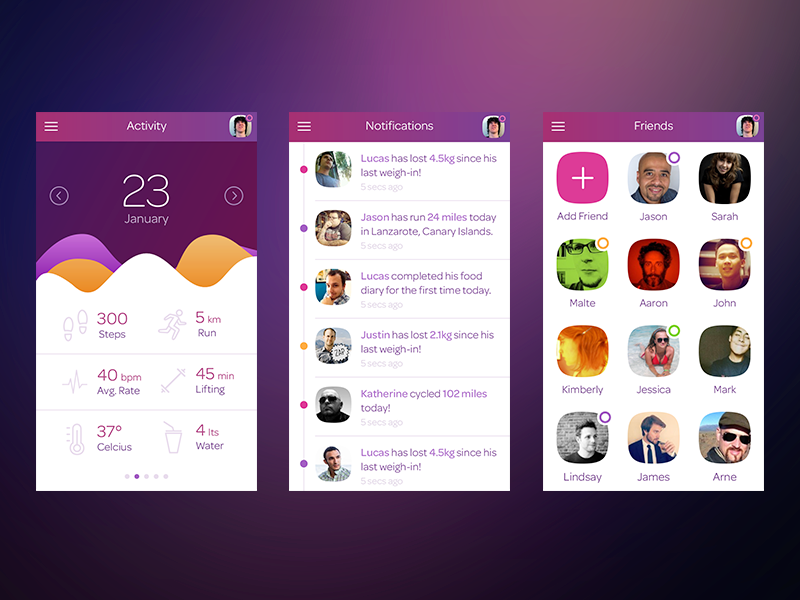 Health.ly app health mobile gradient notifications activity dashboard