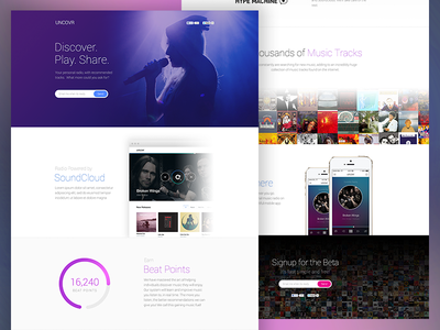 Uncovr.me [Q1 2014] uncovr music homepage landing page html css illustration