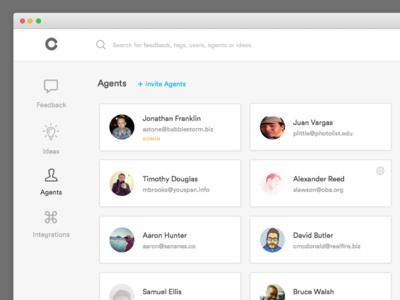 Agents invite web app sananes feedback agents members view grid list app dashboard