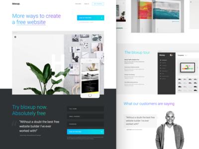 Bloxup homepage landing page gradient typography minimal clean