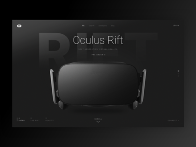 Oculus redesign full screen futuristic homepage oculus
