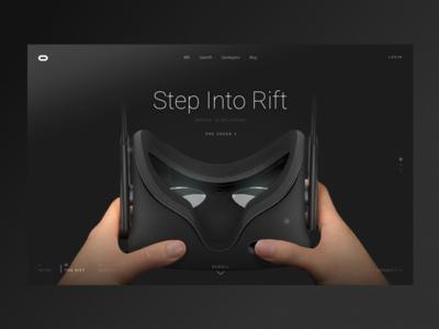 Oculus futuristic dark menu parallax scroll homepage oculus