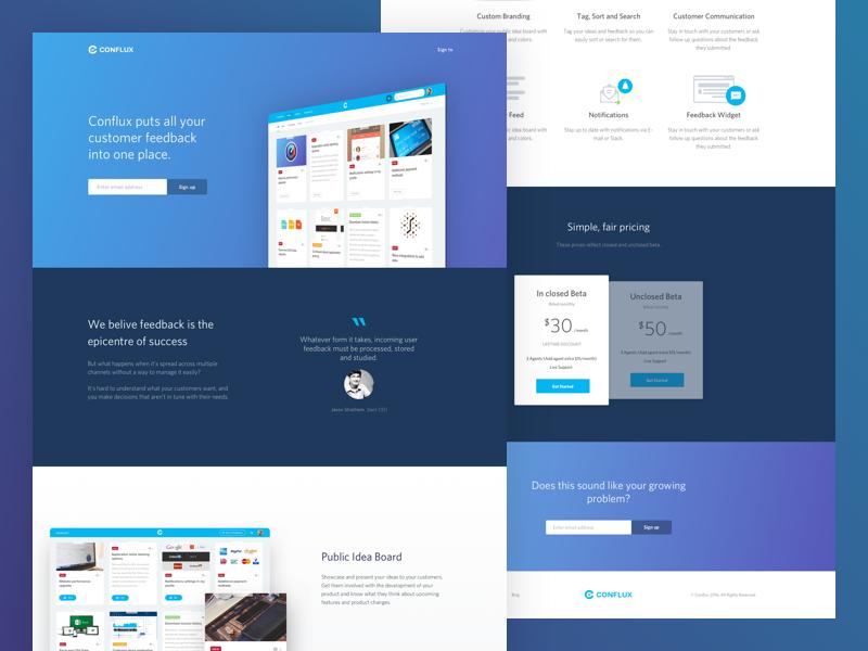 Conflux Beta landing feedback management feedback homepage conflux