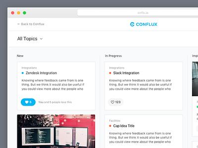 Conflux Public Dashboard whitelabel grid cards consolidate ideas feedback conflux