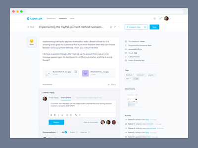 Conflux Feedback Page attachments ux ui reply comments assign feedback