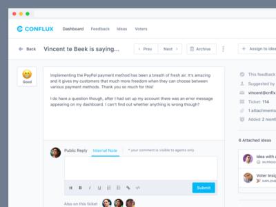 Feedback Details Overview conflux ideas managing public feedback votes feedback