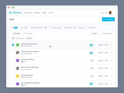 Idea Overview idea feedback manage public public dashboard filter sort status