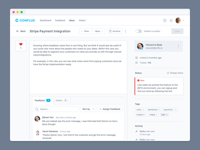 Idea Details Overview design system management status conversation assign feedback manage ideas