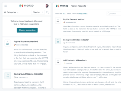 Public Dashboard management feedback portal public dashboard ideas status