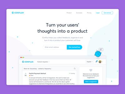 Conflux - Feedback Management clean management landing page dashboard idea feedback
