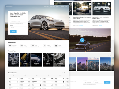 Recall Website cards brands landing page grid motor car automotive landing website
