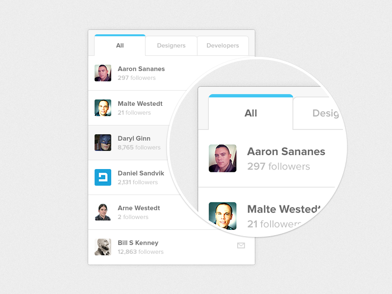 Contact Designers. PSD Included. minimal state active profile user icons tabs fun psd ui free
