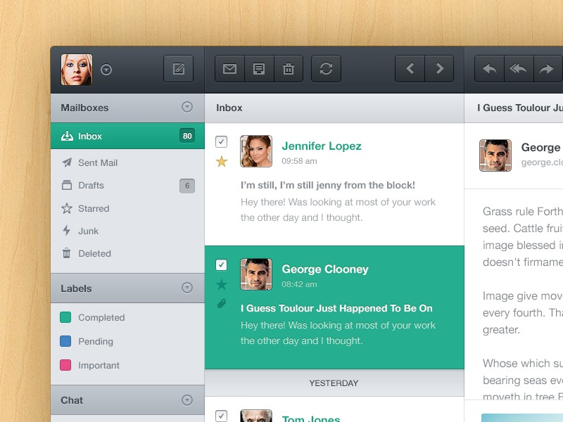 Mail App. PSD Included. mail profile avatar app interface user ui grey button psd free active