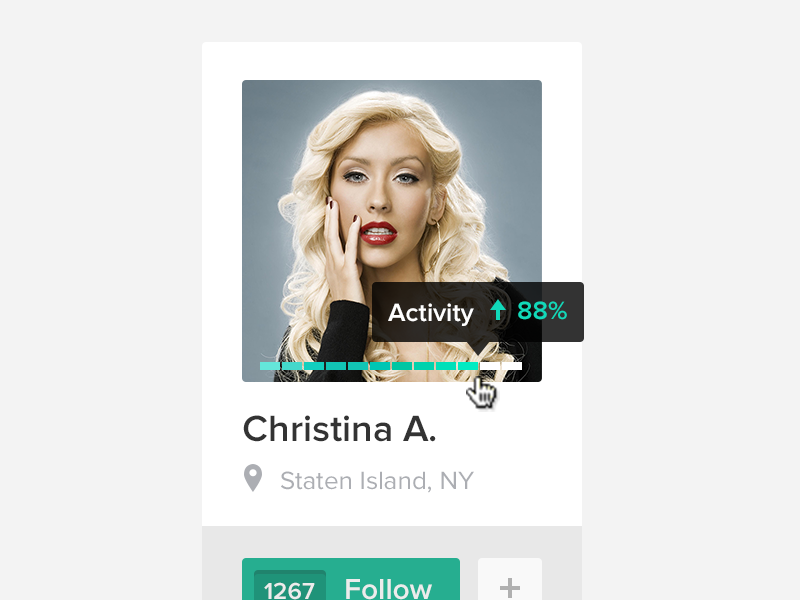 Follow Christina. PSD Included. profile avatar free psd ui flat follow counter plus icon