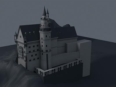 Castle architecture design model cinema4d castle 3d