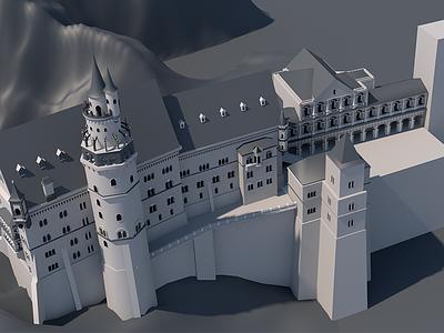 Castle V4 architecture design model cinema4d castle 3d