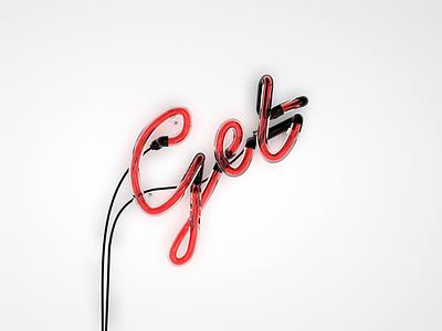 3D Neon Sign in C4D red typography bezier lights neon design c4d 3d