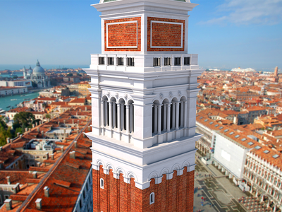 3D Venetian Tower - Textured design cinema 4d italy 3d architecture c4d